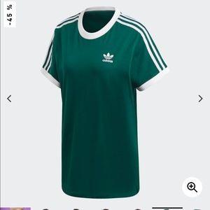 Adidas Green 3 Stripe Tee